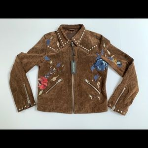 BLANKNYC Brown Suede Embroidered Moto Jacket Small